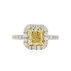Platinum EGL USA Certified 2.77 ctw Fancy Yellow Diamond Ring