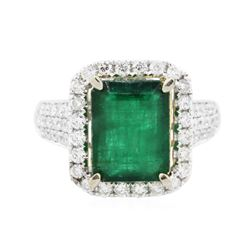 14KT Two-Tone Gold 3.93 ctw Emerald and Diamond Ring