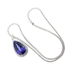 14-18KT White Gold 36.63 ctw Tanzanite and Diamond Pendant With Chain