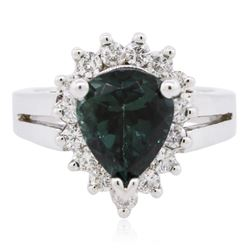 14KT White Gold 3.26 ctw Tourmaline and Diamond Ring