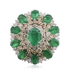 14KT White Gold 8.08 ctw Emerald and Diamond Ring