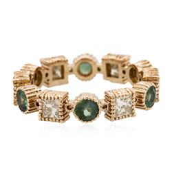 14KT Rose Gold 1.02 ctw Green Chrysoberyl and Diamond Ring