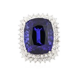 14KT White Gold GIA Certified 29.75 ctw Tanzanite and Diamond Ring