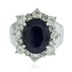 14KT White Gold 5.46 ctw Sapphire and Diamond Ring