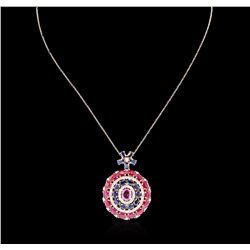 14KT Rose Gold 6.35 ctw Multi Color Sapphire, Ruby and Diamond Pendant W/ Chain