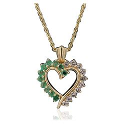 14KT Yellow Gold 1.00 ctw White Topaz and Emerald Pendant With Chain