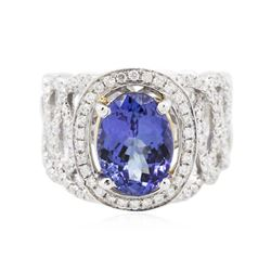 14KT Two-Tone Gold 3.27 ctw Tanzanite and Diamond Ring