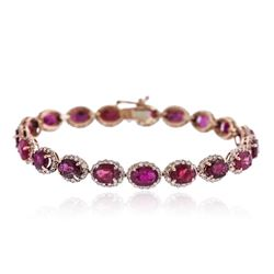 14KT Rose Gold 19.03 ctw Ruby and Diamonds Bracelet