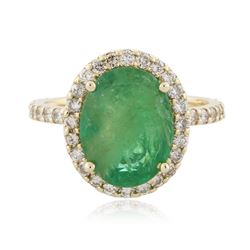 14KT Yellow Gold 3.01 ctw Emerald and Diamond Ring