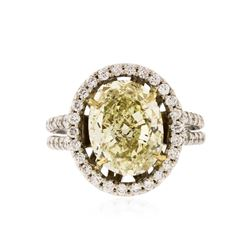 14KT White Gold 4.74 ctw Fancy Yellow Diamond Ring