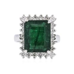 14KT White Gold 7.86 ctw Emerald and Diamond Ring