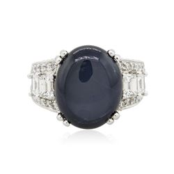 Platinum 24.10 ctw Blue Star Sapphire and Diamond Ring