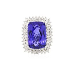 14KT White Gold GIA Certified 24.17 ctw Tanzanite and Diamond Ring