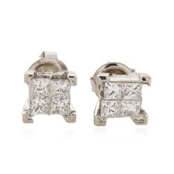 14KT White Gold 1.33 ctw Diamond Earrings