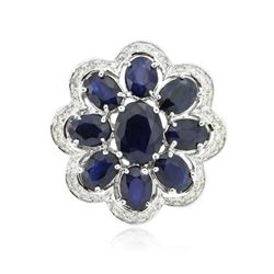14KT White Gold 9.63 ctw Sapphire Ring