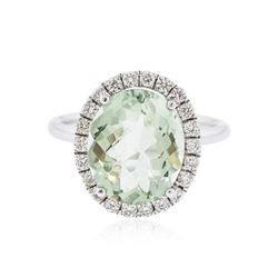 14KT White Gold 4.63 ctw Green Amethyst and Diamond Ring