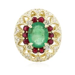 14KT Yellow Gold 3.89 ctw Emerald, Ruby and Diamond Ring