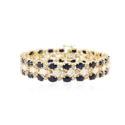 14KT Yellow Gold 22.40 ctw Sapphire and Diamond Bracelet