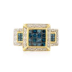 14KT Yellow Gold 1.10 ctw Blue Diamond Ring