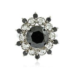 14KT White Gold 5.65 ctw Black Diamond Ring