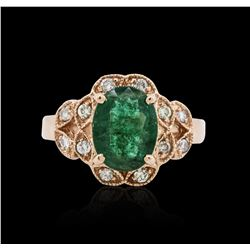 14KT Rose Gold 2.36 ctw Emerald and Diamond Ring