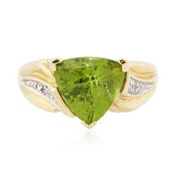 14KT Yellow Gold 3.00 ctw Peridot and Diamond Ring