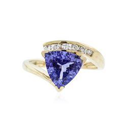 14KT Yellow Gold 2.12 ctw Tanzanite and Diamond Ring