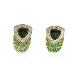 14KT Yellow Gold 2.88 ctw Chrome Diopside, Tsavorite and Diamond Earrings
