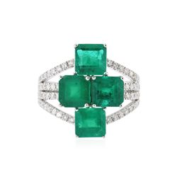 18KT White Gold 4.48 ctw Emerald and Diamond Ring