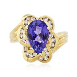 18KT Yellow Gold 3.00 ctw Tanzanite and Diamond Ring