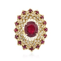14KT Yellow Gold 8.29 ctw Ruby and Diamond Ring