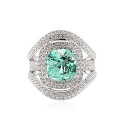 18KT White Gold 3.87 ctw Emerald and Diamond Ring