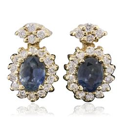14KT Yellow Gold 1.91 ctw Sapphire and Diamond Earrings