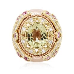 14KT Rose Gold 4.05 ctw Citrine, Amethyst and Diamond Ring