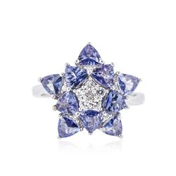 SILVER 2.11 ctw Tanzanite and White Sapphire Ring