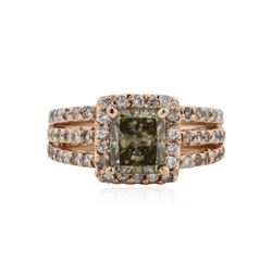 14KT Rose Gold 2.19 ctw Fancy Green Diamond Ring