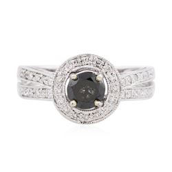 18KT White Gold 0.84 ctw Black Diamond Ring