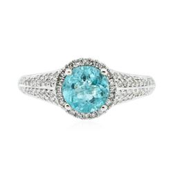14KT White Gold 1.11 ctw Apatite and Diamond Ring