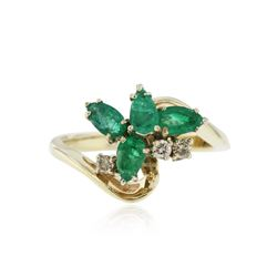 14KT Yellow Gold 0.92 ctw Emerald and Diamond Ring