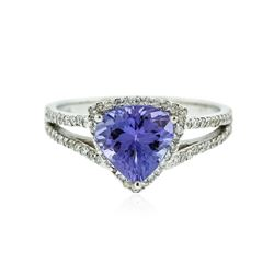 14KT White Gold 1.72 ctw Tanzanite and Diamond Ring