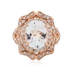 14KT Rose Gold 4.28 ctw Aquamarine and Diamond Ring