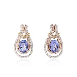 14KT Tri Color Gold 2.50 ctw Tanzanite and Diamond Earrings