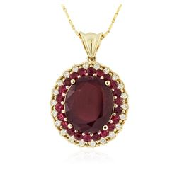 14KT Yellow Gold 11.30 ctw Ruby and Diamond Pendant With Chain
