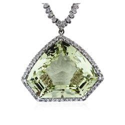 14KT White Gold 29.00 ctw Aquamarine and Diamond Necklace