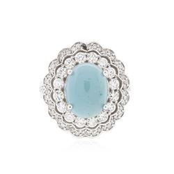 14KT White Gold 4.44 ctw Chrysoprase and Diamond Ring