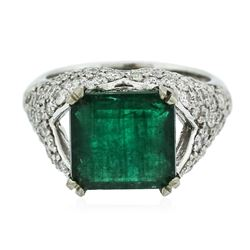 14KT White Gold 4.40 ctw Emerald and Diamond Ring