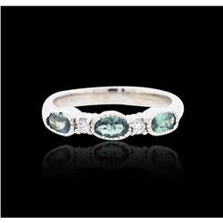 14KT White Gold 0.70 ctw Chrysoberyl and Diamond Ring