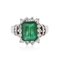 14KT White Gold 3.07 ctw Emerald and Diamond Ring