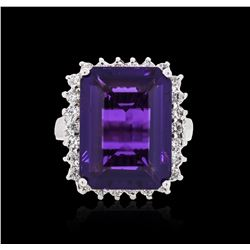 14KT White Gold 9.12 ctw Amethyst and Diamond Ring