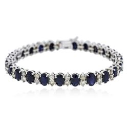 14KT White Gold 18.96 ctw Sapphire and Diamond Bracelet